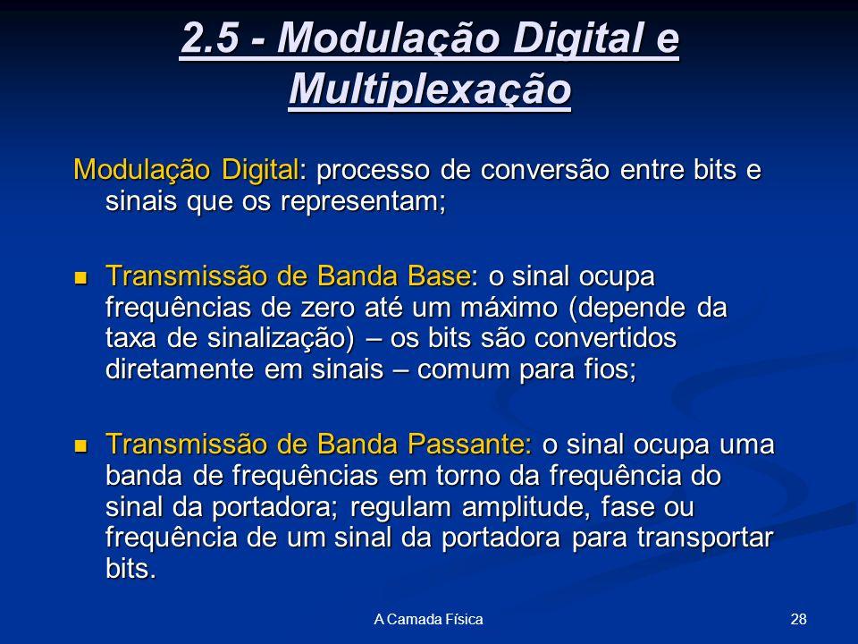 28A Camada Física 2.5 - Modulação Digital e Multiplexação Modulação Digital: processo de conversão entre bits e sinais que os representam; Transmissão