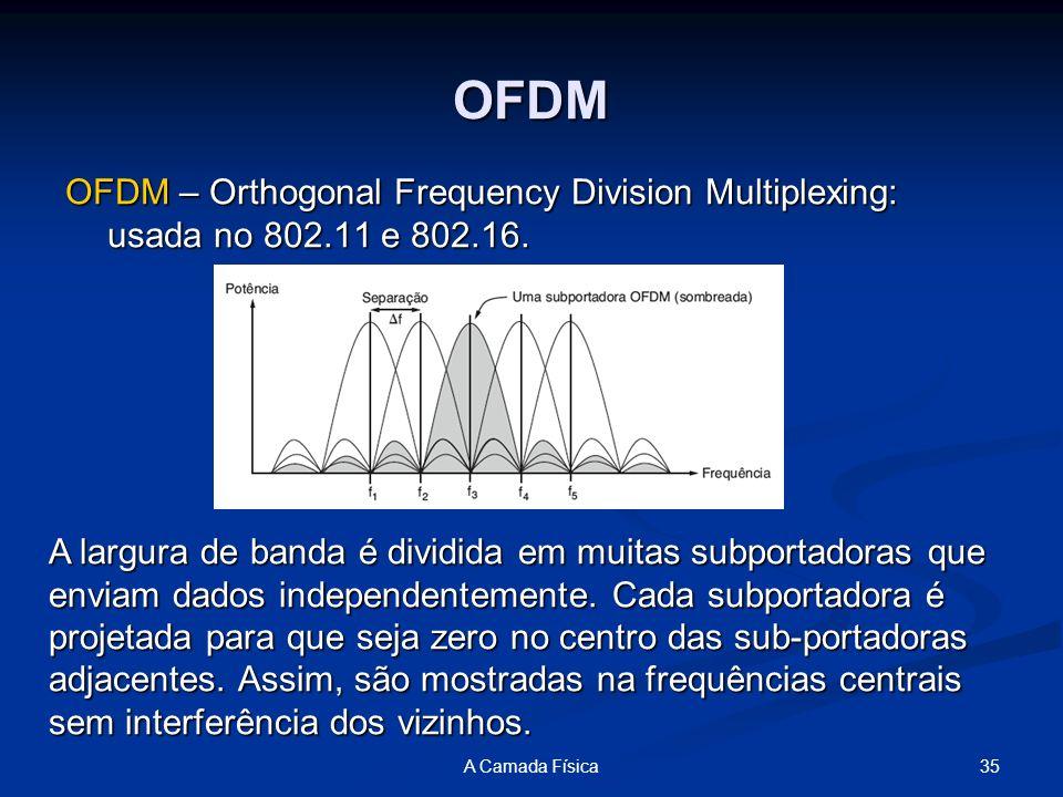35A Camada Física OFDM OFDM – Orthogonal Frequency Division Multiplexing: usada no 802.11 e 802.16. A largura de banda é dividida em muitas subportado