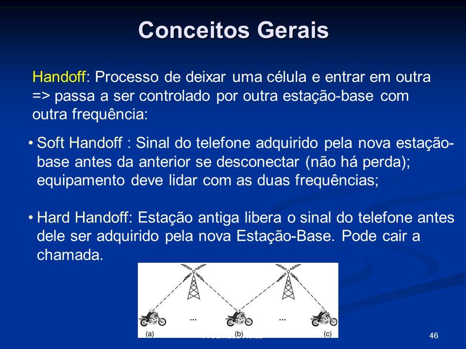 46A Camada Física Conceitos Gerais Handoff: Processo de deixar uma célula e entrar em outra => passa a ser controlado por outra estação-base com outra