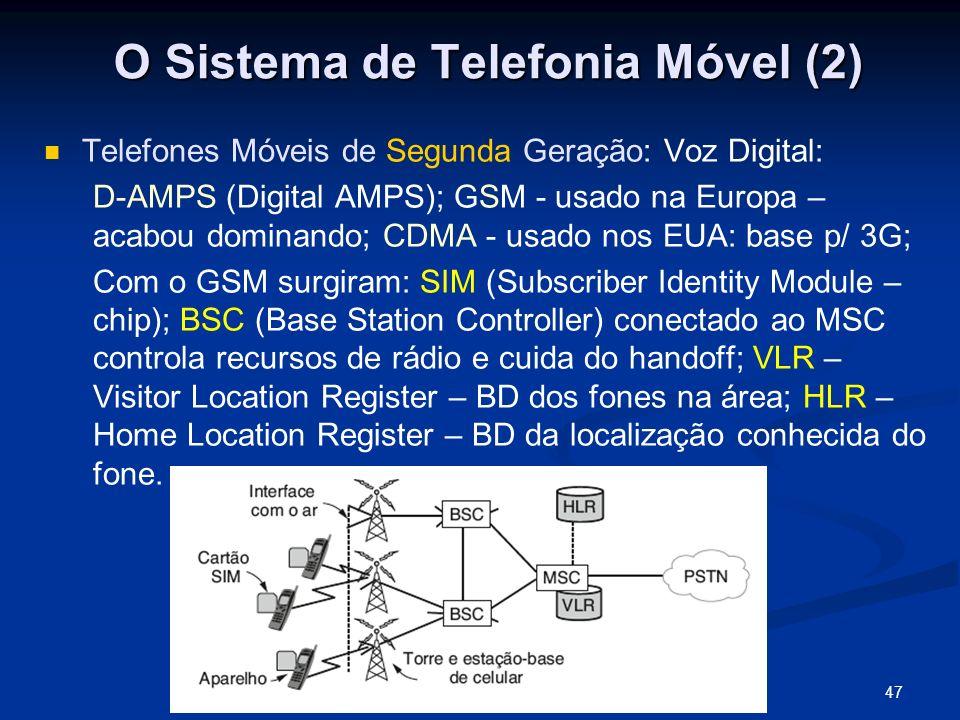 47A Camada Física Telefones Móveis de Segunda Geração: Voz Digital: D-AMPS (Digital AMPS); GSM - usado na Europa – acabou dominando; CDMA - usado nos