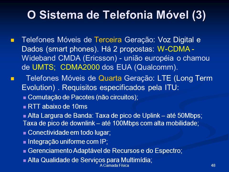 48A Camada Física Telefones Móveis de Terceira Geração: Voz Digital e Dados (smart phones). Há 2 propostas: W-CDMA - Wideband CMDA (Ericsson) - união