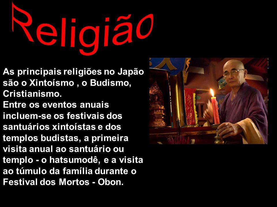 As principais religiões no Japão são o Xintoísmo, o Budismo, Cristianismo. Entre os eventos anuais incluem-se os festivais dos santuários xintoístas e