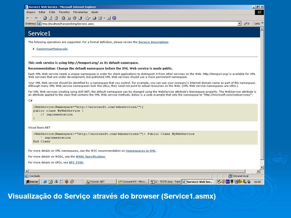 Possibilidade de testar o serviço após a compilação. Visualização da solicitação/resposta SOAP.