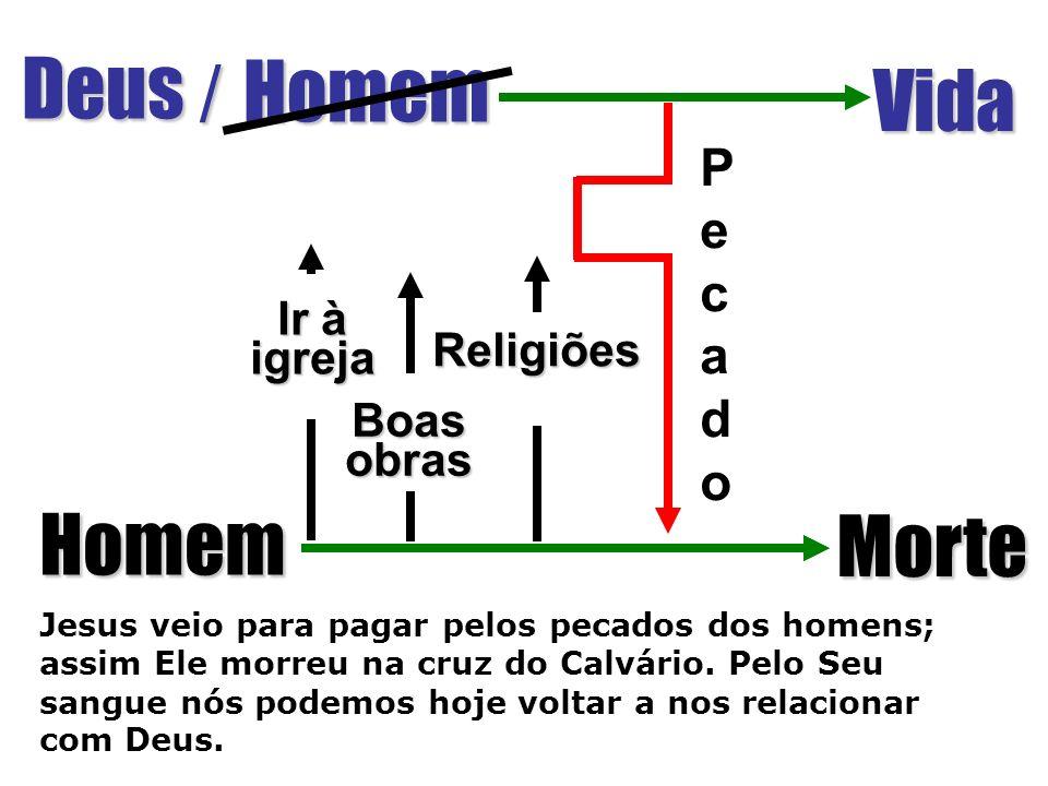 Deus / Homem Vida Jesus veio para pagar pelos pecados dos homens; assim Ele morreu na cruz do Calvário.