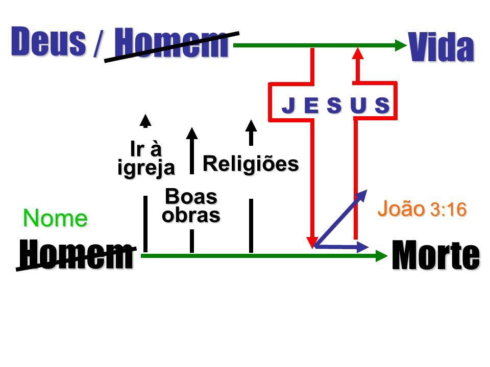 Deus / Homem Vida Homem Morte Boasobras Religiões Ir à igreja João 3:16 J E S U S Nome