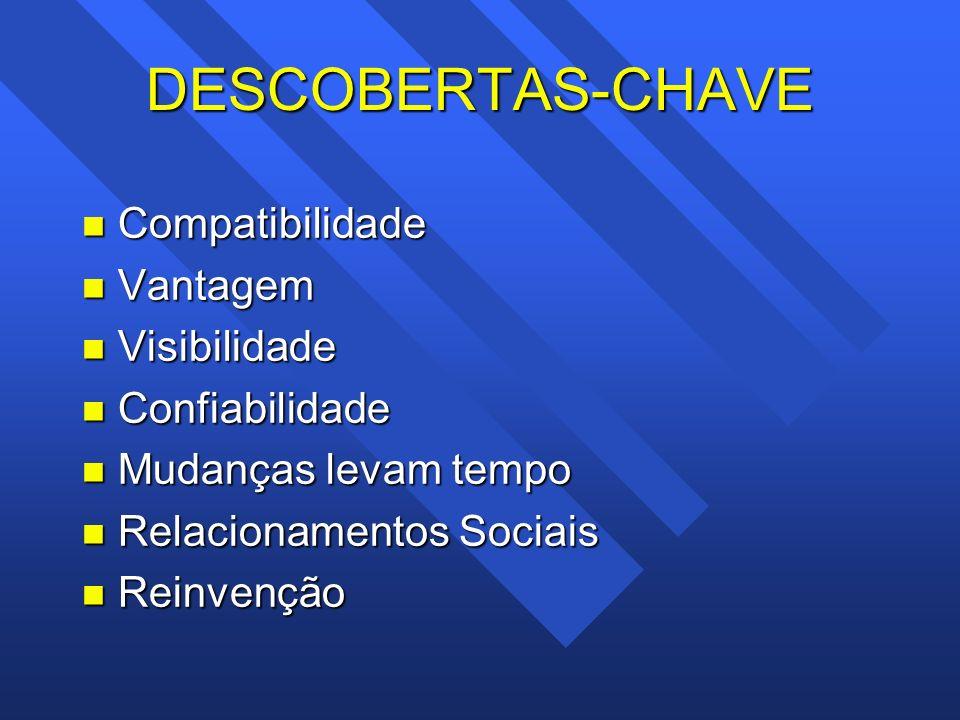 DESCOBERTAS-CHAVE n Compatibilidade n Vantagem n Visibilidade n Confiabilidade n Mudanças levam tempo n Relacionamentos Sociais n Reinvenção