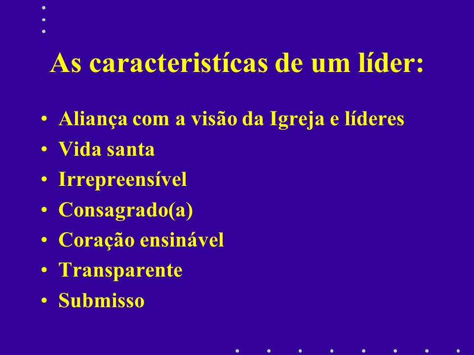 As caracteristícas de um líder: Aliança com a visão da Igreja e líderes Vida santa Irrepreensível Consagrado(a) Coração ensinável Transparente Submiss