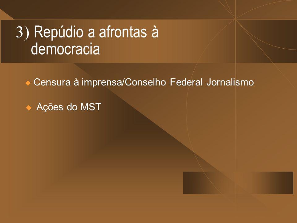 3) Repúdio a afrontas à democracia Censura à imprensa/Conselho Federal Jornalismo Ações do MST