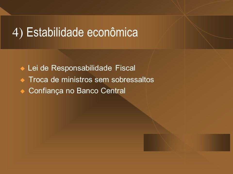 4) Estabilidade econômica Troca de ministros sem sobressaltos Confiança no Banco Central Lei de Responsabilidade Fiscal