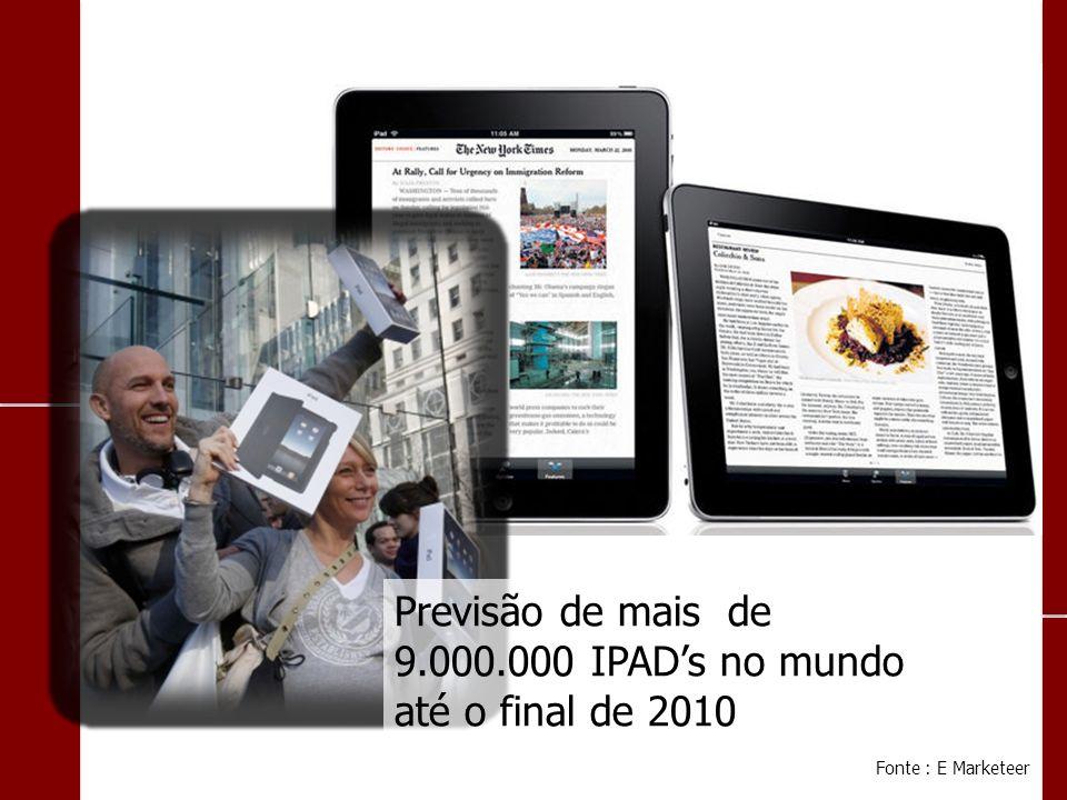 Previsão de mais de 9.000.000 IPADs no mundo até o final de 2010 Fonte : E Marketeer