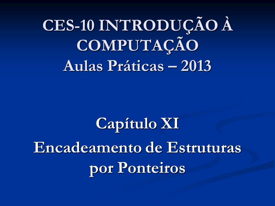 CES-10 INTRODUÇÃO À COMPUTAÇÃO Aulas Práticas – 2013 Capítulo XI Encadeamento de Estruturas por Ponteiros