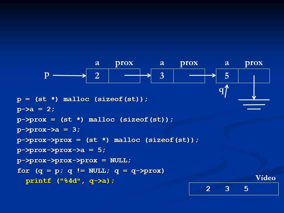 p = (st *) malloc (sizeof(st)); p->a = 2; p->prox = (st *) malloc (sizeof(st)); p->prox->a = 3; p->prox->prox = (st *) malloc (sizeof(st)); p->prox->prox->a = 5; p->prox->prox->prox = NULL; for (q = p; q != NULL; q = q->prox) printf ( %4d , q->a); p aprox 2 a 3 a 5 2 3 5 Vídeo q
