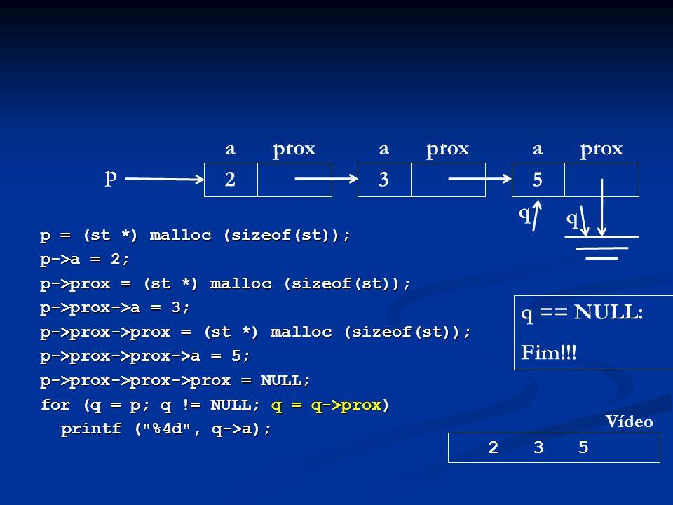 p = (st *) malloc (sizeof(st)); p->a = 2; p->prox = (st *) malloc (sizeof(st)); p->prox->a = 3; p->prox->prox = (st *) malloc (sizeof(st)); p->prox->prox->a = 5; p->prox->prox->prox = NULL; for (q = p; q != NULL; q = q->prox) printf ( %4d , q->a); p aprox 2 a 3 a 5 2 3 5 Vídeo q q q == NULL: Fim!!!
