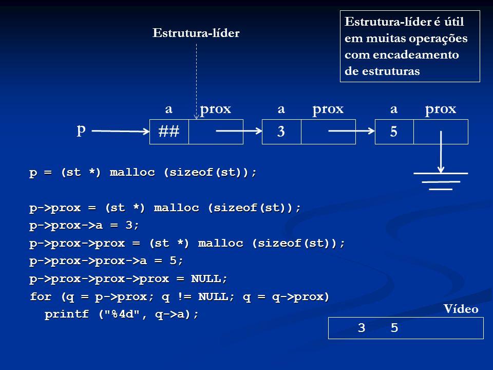 p = (st *) malloc (sizeof(st)); p->prox = (st *) malloc (sizeof(st)); p->prox->a = 3; p->prox->prox = (st *) malloc (sizeof(st)); p->prox->prox->a = 5; p->prox->prox->prox = NULL; for (q = p->prox; q != NULL; q = q->prox) printf ( %4d , q->a); p aprox ## aprox 3 a 5 3 5 Vídeo Estrutura-líder Estrutura-líder é útil em muitas operações com encadeamento de estruturas