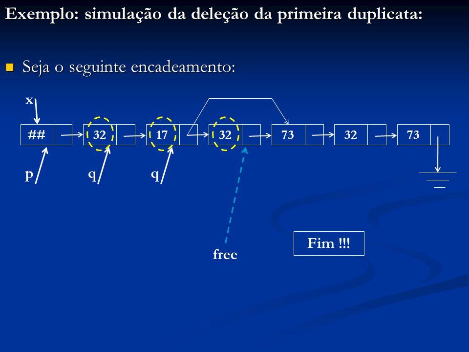 Exemplo: simulação da deleção da primeira duplicata: Seja o seguinte encadeamento: Seja o seguinte encadeamento: ##321732733273 x pqq free Fim !!!