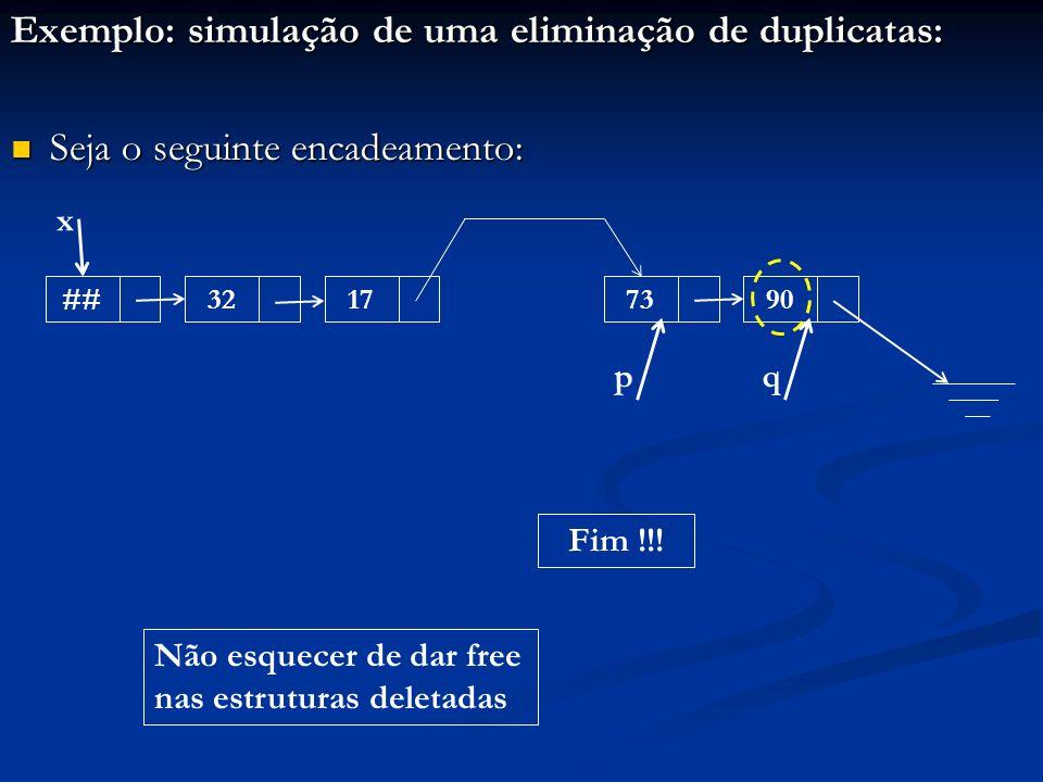 Exemplo: simulação de uma eliminação de duplicatas: Seja o seguinte encadeamento: Seja o seguinte encadeamento: ##32177390 x pq Fim !!! Não esquecer d