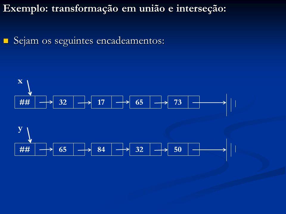 Exemplo: transformação em união e interseção: Sejam os seguintes encadeamentos: Sejam os seguintes encadeamentos: ##32176573 x ##65843250 y
