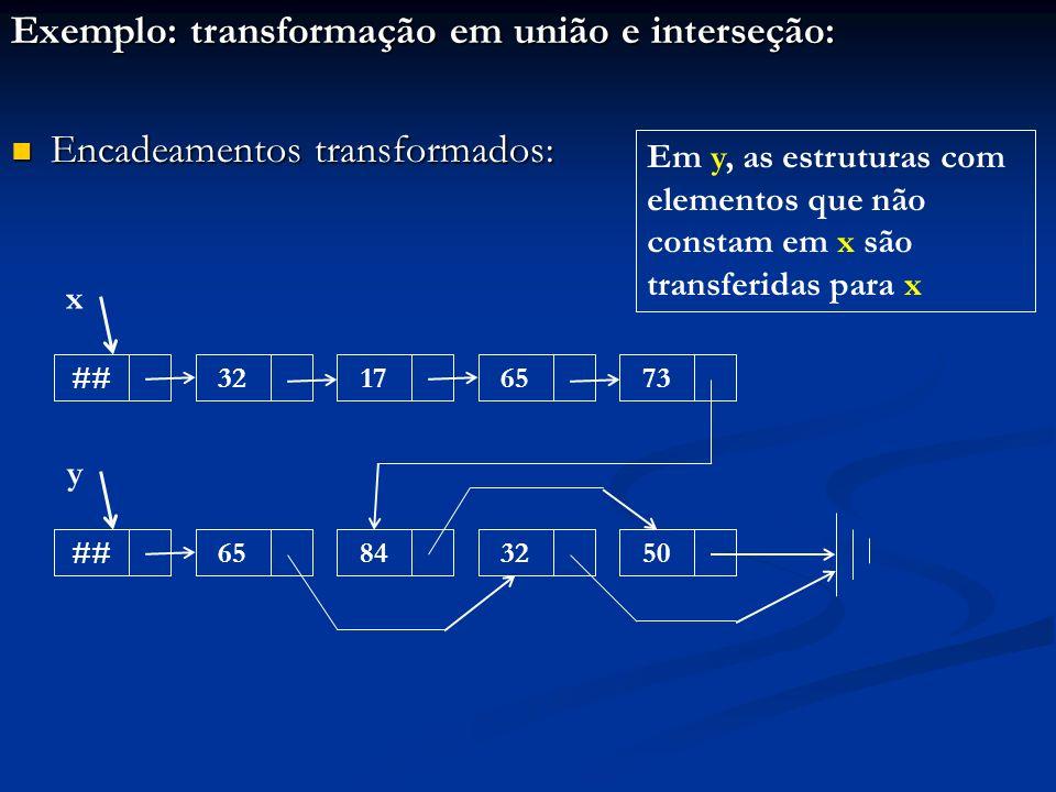 Exemplo: transformação em união e interseção: Encadeamentos transformados: Encadeamentos transformados: ##32176573 x ##65843250 y Em y, as estruturas com elementos que não constam em x são transferidas para x