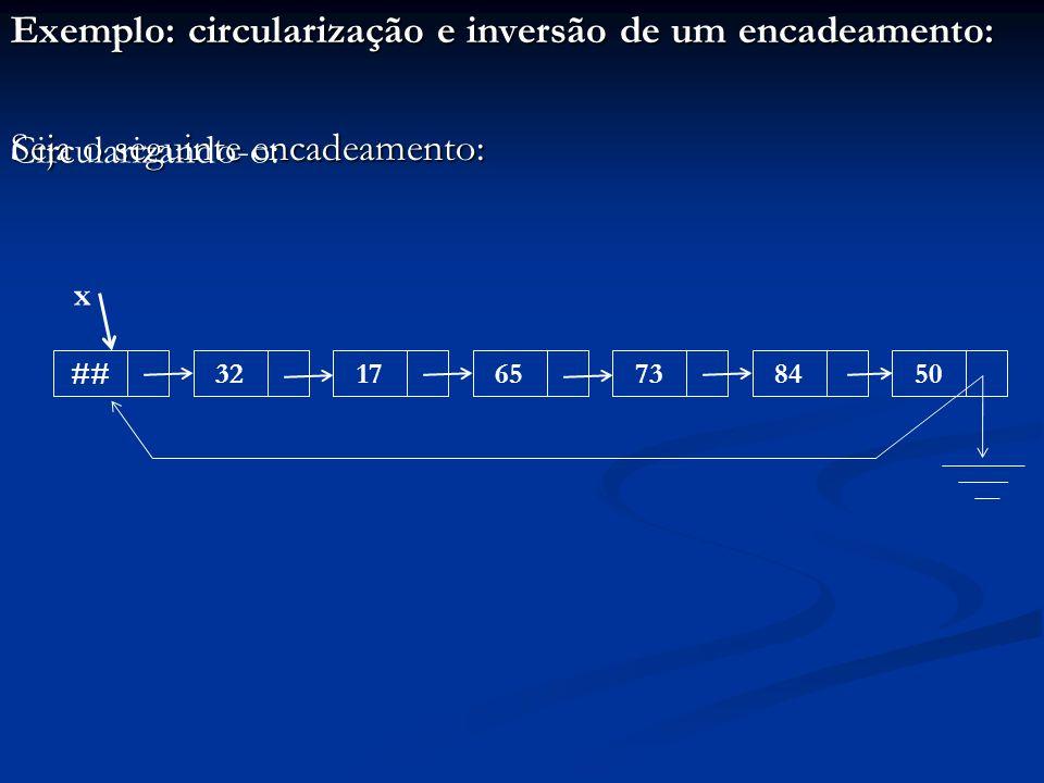 Exemplo: circularização e inversão de um encadeamento: Seja o seguinte encadeamento: ##32176573 x 8450 Circularizando-o: