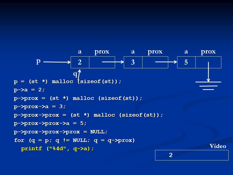p = (st *) malloc (sizeof(st)); p->a = 2; p->prox = (st *) malloc (sizeof(st)); p->prox->a = 3; p->prox->prox = (st *) malloc (sizeof(st)); p->prox->prox->a = 5; p->prox->prox->prox = NULL; for (q = p; q != NULL; q = q->prox) printf ( %4d , q->a); p aprox 2 a 3 a 5 q 2 Vídeo