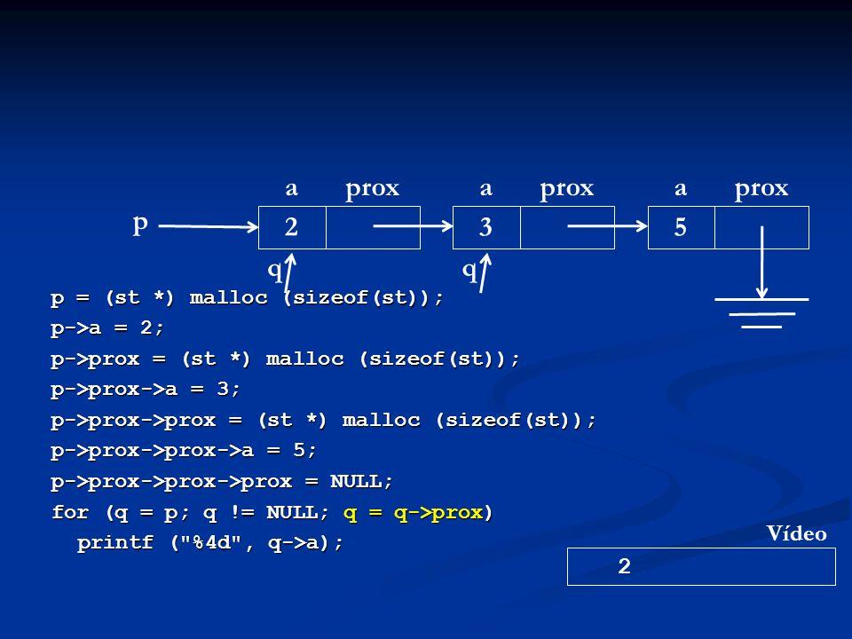 p = (st *) malloc (sizeof(st)); p->a = 2; p->prox = (st *) malloc (sizeof(st)); p->prox->a = 3; p->prox->prox = (st *) malloc (sizeof(st)); p->prox->prox->a = 5; p->prox->prox->prox = NULL; for (q = p; q != NULL; q = q->prox) printf ( %4d , q->a); p aprox 2 a 3 a 5 q 2 Vídeo q