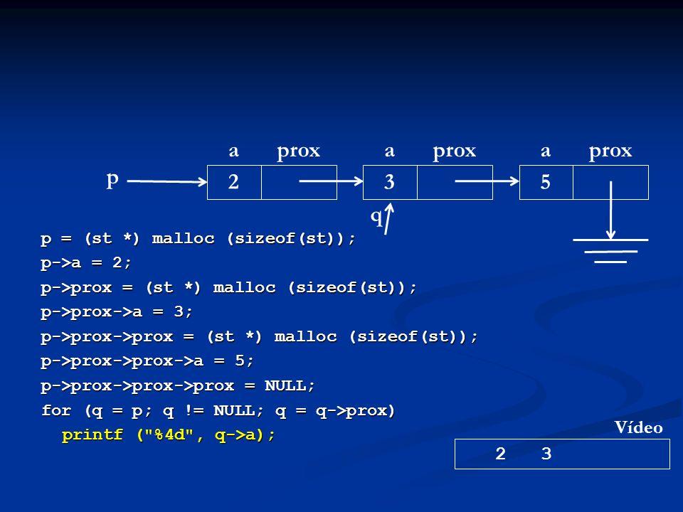 p = (st *) malloc (sizeof(st)); p->a = 2; p->prox = (st *) malloc (sizeof(st)); p->prox->a = 3; p->prox->prox = (st *) malloc (sizeof(st)); p->prox->prox->a = 5; p->prox->prox->prox = NULL; for (q = p; q != NULL; q = q->prox) printf ( %4d , q->a); p aprox 2 a 3 a 5 2 3 Vídeo q