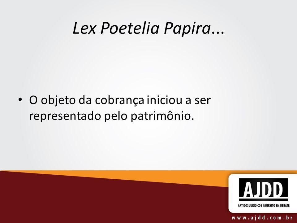 Lex Poetelia Papira... O objeto da cobrança iniciou a ser representado pelo patrimônio.