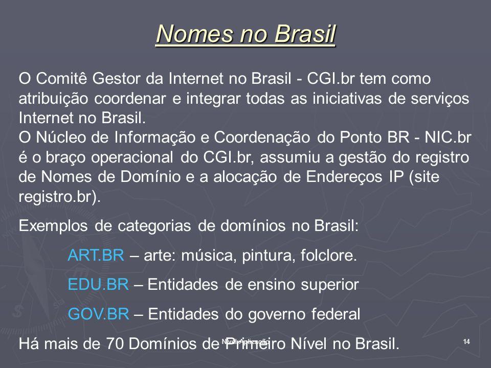 Nível Aplicação 14 Nomes no Brasil O Comitê Gestor da Internet no Brasil - CGI.br tem como atribuição coordenar e integrar todas as iniciativas de ser