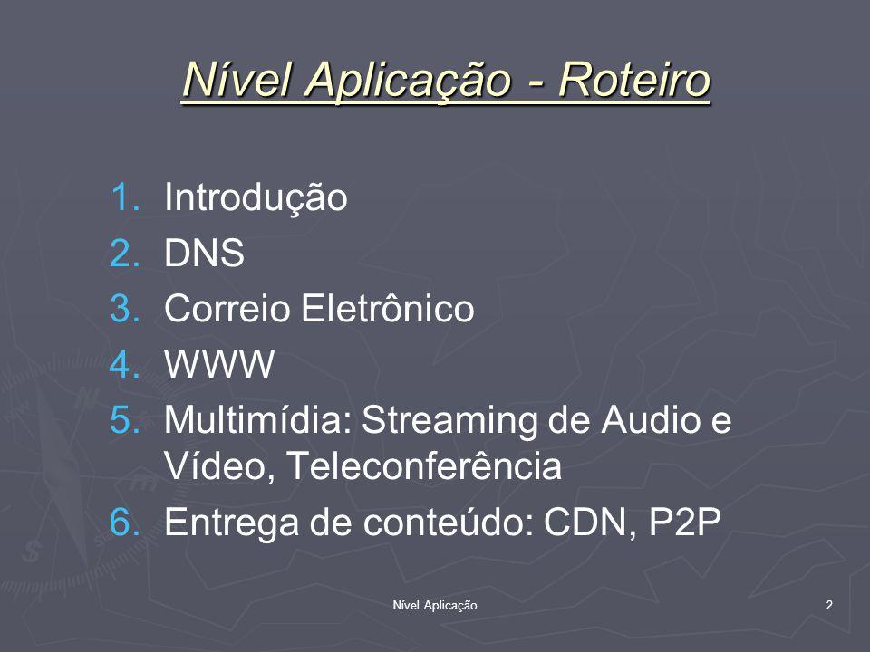 Nível Aplicação 2 1. 1.Introdução 2. 2.DNS 3. 3.Correio Eletrônico 4. 4.WWW 5. 5.Multimídia: Streaming de Audio e Vídeo, Teleconferência 6. 6.Entrega
