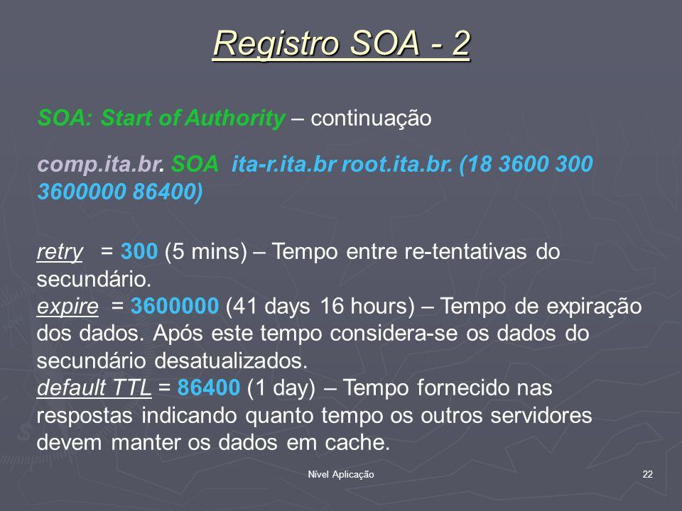 Nível Aplicação 22 Registro SOA - 2 SOA: Start of Authority – continuação comp.ita.br. SOA ita-r.ita.br root.ita.br. (18 3600 300 3600000 86400) retry