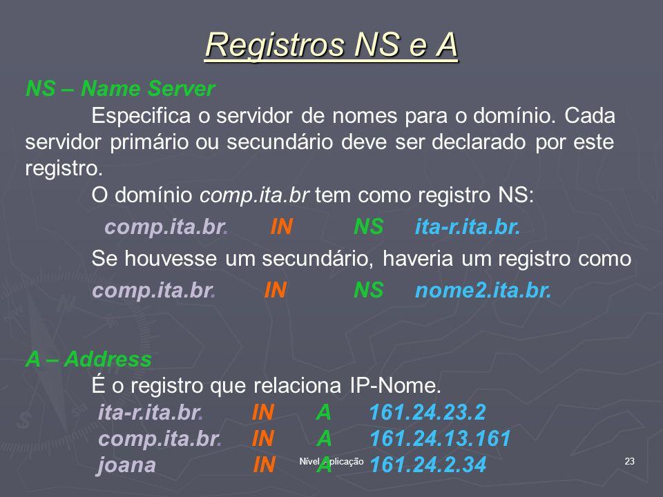 Nível Aplicação 23 Registros NS e A NS – Name Server Especifica o servidor de nomes para o domínio. Cada servidor primário ou secundário deve ser decl