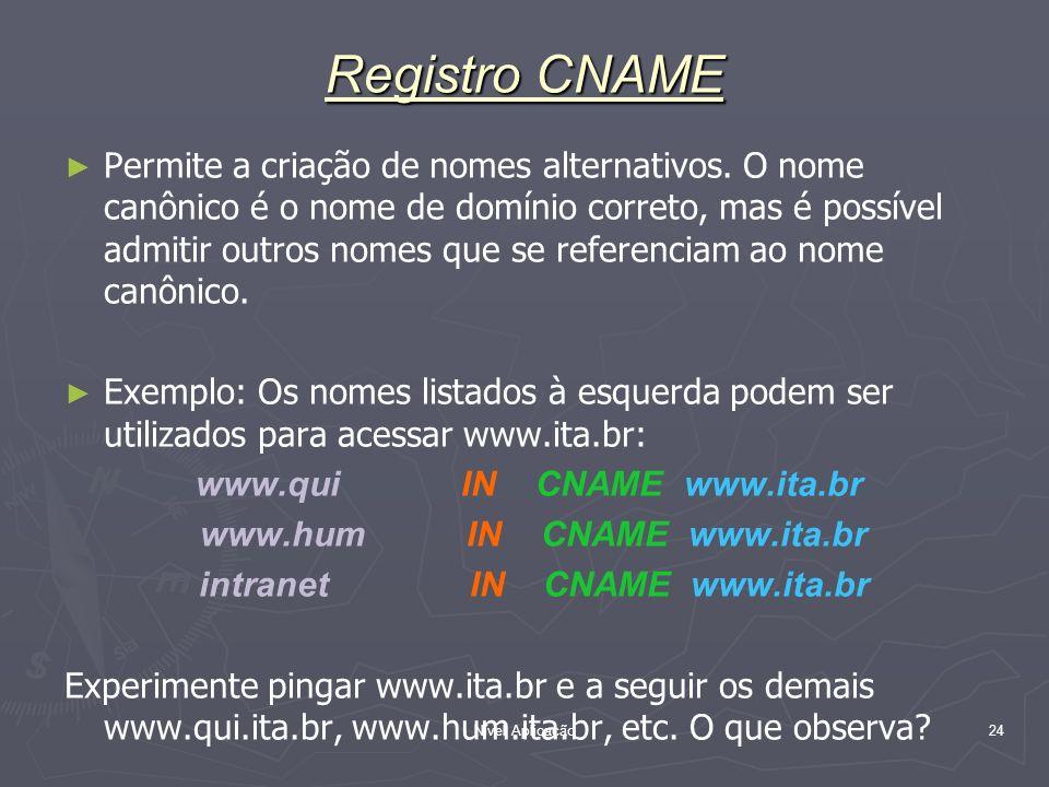 Nível Aplicação 24 Registro CNAME Permite a criação de nomes alternativos. O nome canônico é o nome de domínio correto, mas é possível admitir outros