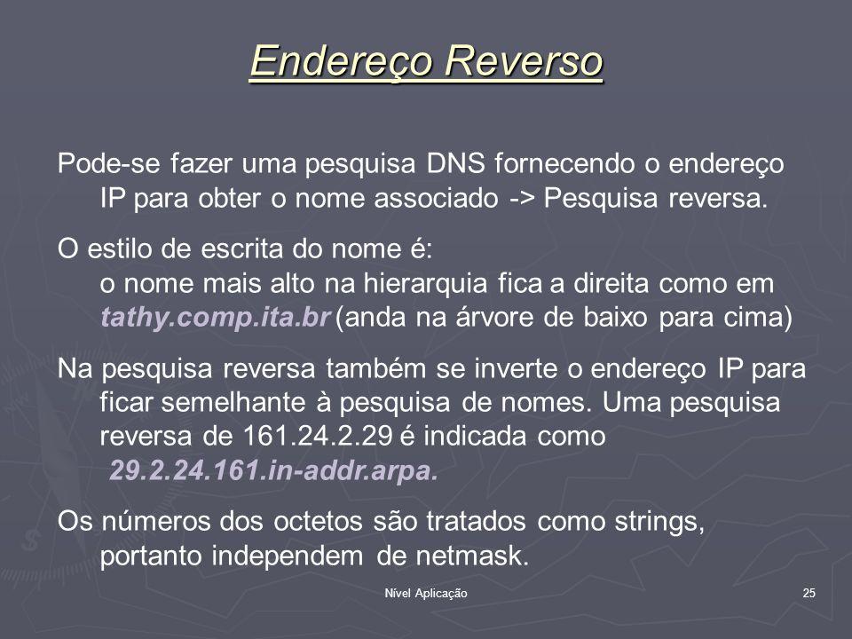 Nível Aplicação 25 Endereço Reverso Pode-se fazer uma pesquisa DNS fornecendo o endereço IP para obter o nome associado -> Pesquisa reversa. O estilo