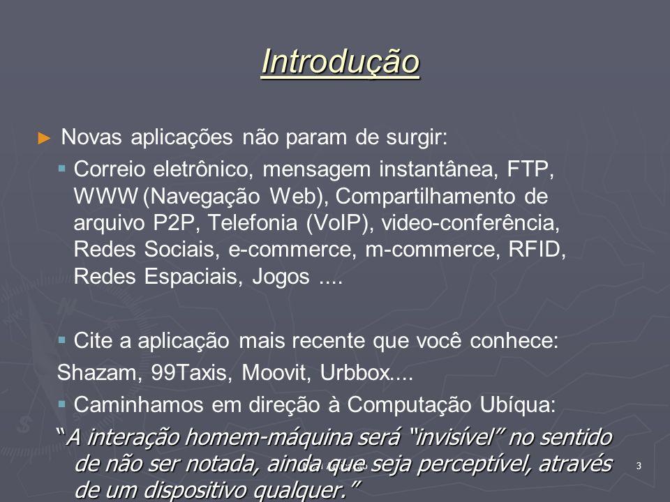 Nível Aplicação 3 Novas aplicações não param de surgir: Correio eletrônico, mensagem instantânea, FTP, WWW (Navegação Web), Compartilhamento de arquiv