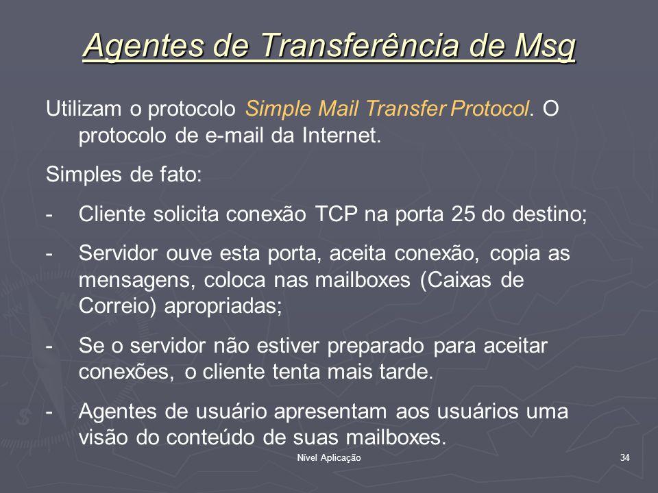 Nível Aplicação 34 Agentes de Transferência de Msg Utilizam o protocolo Simple Mail Transfer Protocol. O protocolo de e-mail da Internet. Simples de f
