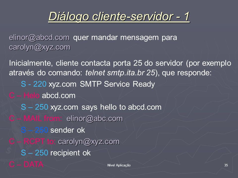 Nível Aplicação 35 Diálogo cliente-servidor - 1 elinor@abcd.com carolyn@xyz.com elinor@abcd.com quer mandar mensagem para carolyn@xyz.com Inicialmente