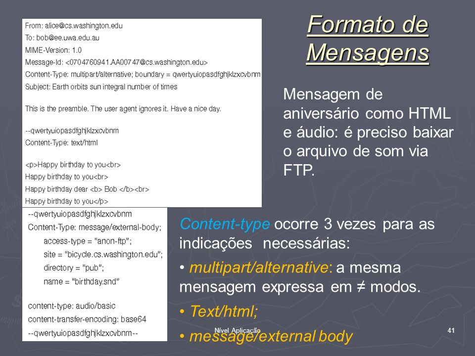 Nível Aplicação 41 Formato de Mensagens Mensagem de aniversário como HTML e áudio: é preciso baixar o arquivo de som via FTP. Content-type ocorre 3 ve