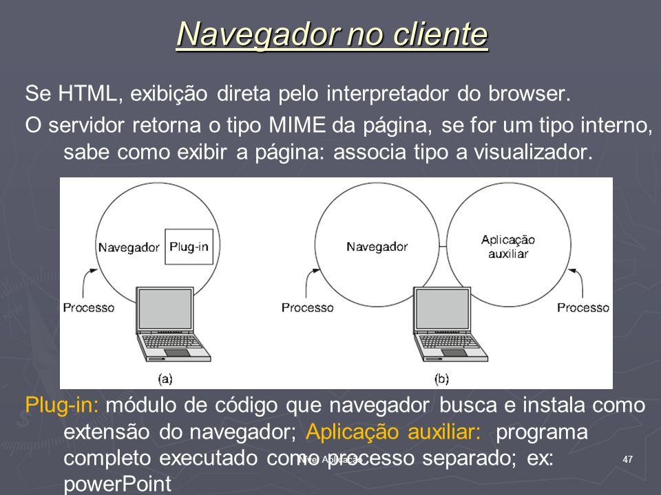 Nível Aplicação 47 Navegador no cliente Se HTML, exibição direta pelo interpretador do browser. O servidor retorna o tipo MIME da página, se for um ti