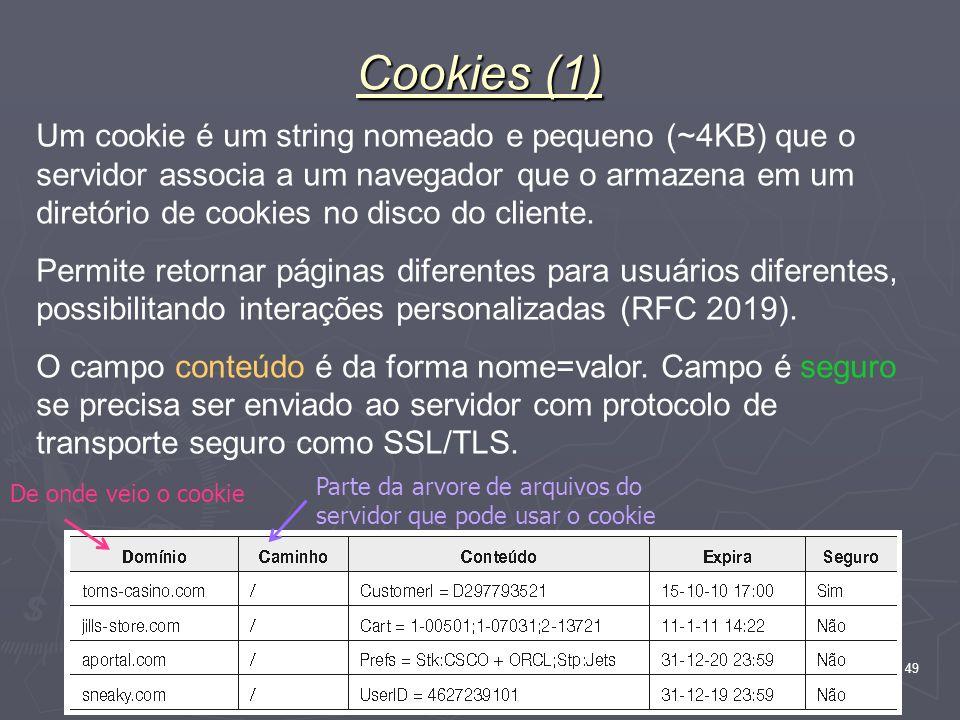 Nível Aplicação 49 Cookies (1) Um cookie é um string nomeado e pequeno (~4KB) que o servidor associa a um navegador que o armazena em um diretório de