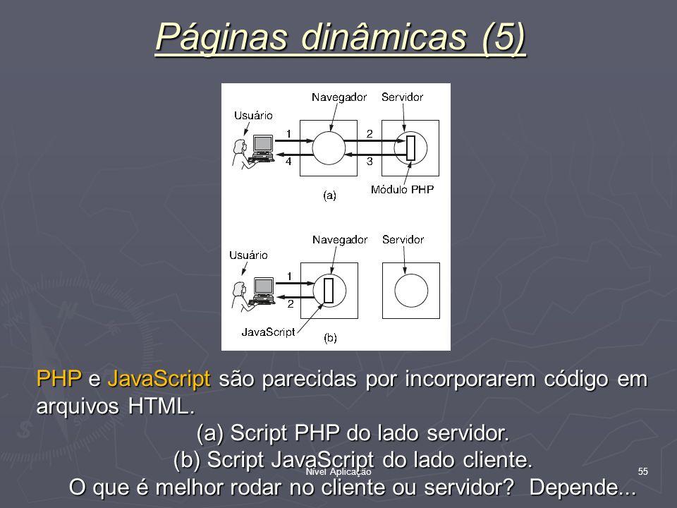 Nível Aplicação 55 Páginas dinâmicas (5) PHP e JavaScript são parecidas por incorporarem código em arquivos HTML. (a) Script PHP do lado servidor. (b)
