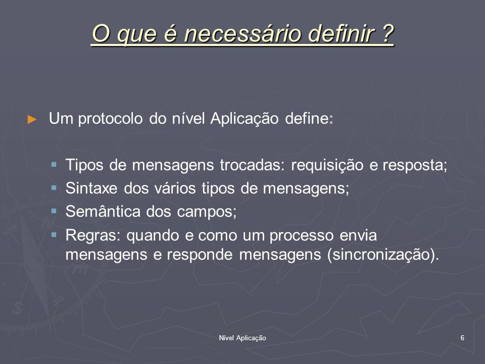 Nível Aplicação 6 O que é necessário definir ? Um protocolo do nível Aplicação define: Tipos de mensagens trocadas: requisição e resposta; Sintaxe dos