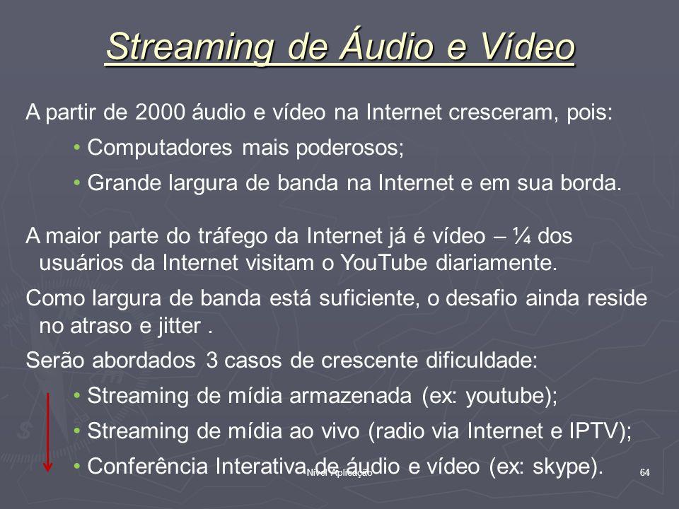Nível Aplicação 64 Streaming de Áudio e Vídeo A partir de 2000 áudio e vídeo na Internet cresceram, pois: Computadores mais poderosos; Grande largura