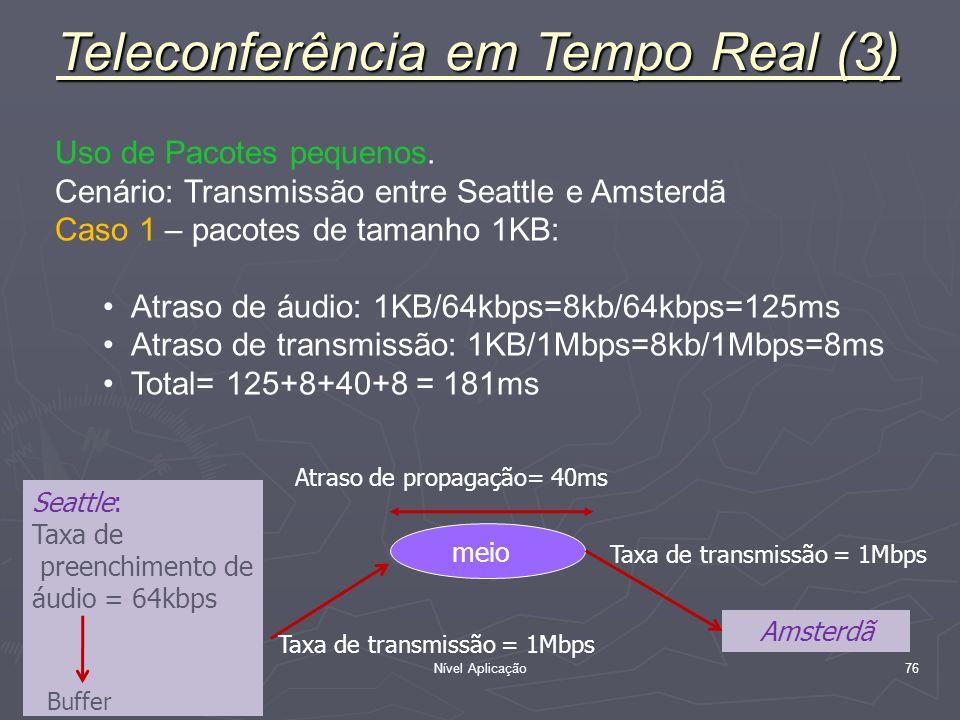 Nível Aplicação 76 Uso de Pacotes pequenos. Cenário: Transmissão entre Seattle e Amsterdã Caso 1 – pacotes de tamanho 1KB: Atraso de áudio: 1KB/64kbps