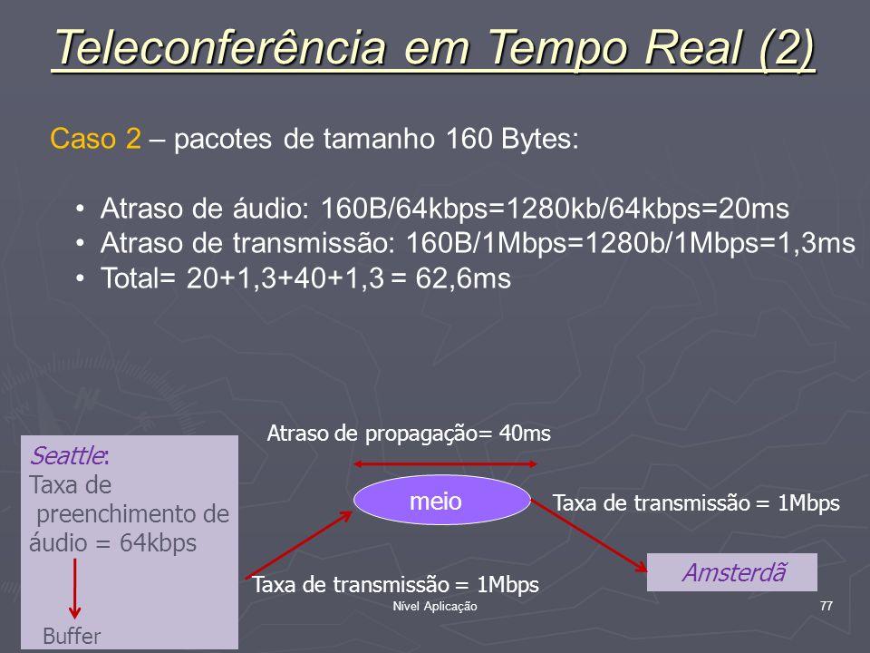 Nível Aplicação 77 Caso 2 – pacotes de tamanho 160 Bytes: Atraso de áudio: 160B/64kbps=1280kb/64kbps=20ms Atraso de transmissão: 160B/1Mbps=1280b/1Mbp