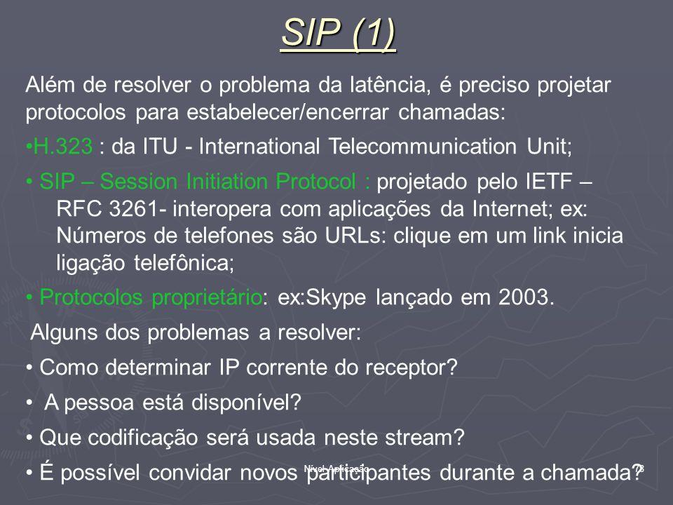 Nível Aplicação 78 SIP (1) Além de resolver o problema da latência, é preciso projetar protocolos para estabelecer/encerrar chamadas: H.323 : da ITU -