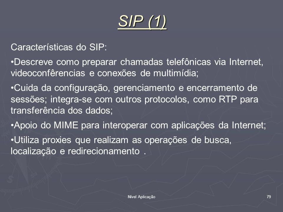 Nível Aplicação 79 SIP (1) Características do SIP: Descreve como preparar chamadas telefônicas via Internet, videoconfêrencias e conexões de multimídi