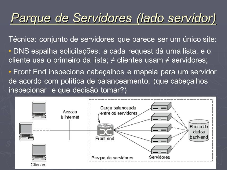 Nível Aplicação 82 Parque de Servidores (lado servidor) Técnica: conjunto de servidores que parece ser um único site: DNS espalha solicitações: a cada