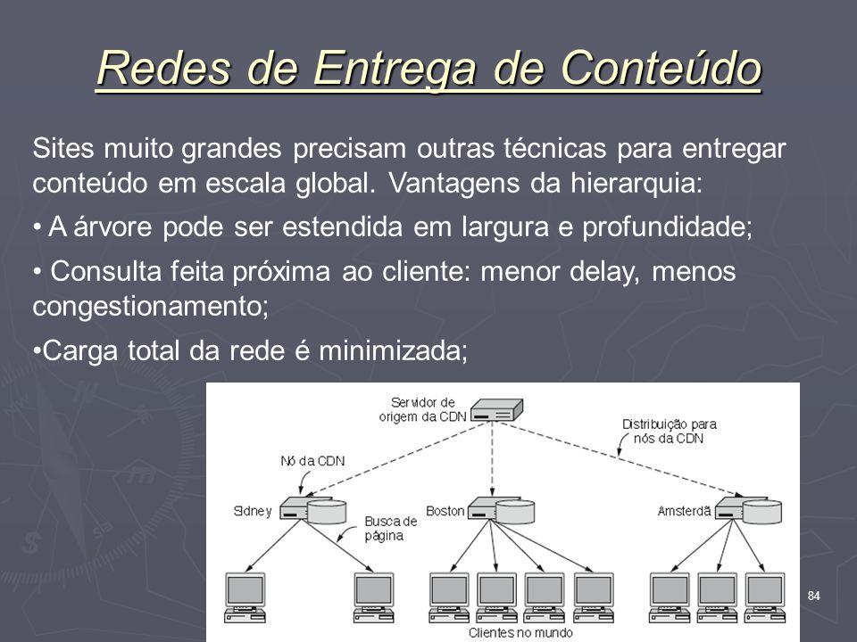 Nível Aplicação 84 Redes de Entrega de Conteúdo Sites muito grandes precisam outras técnicas para entregar conteúdo em escala global. Vantagens da hie