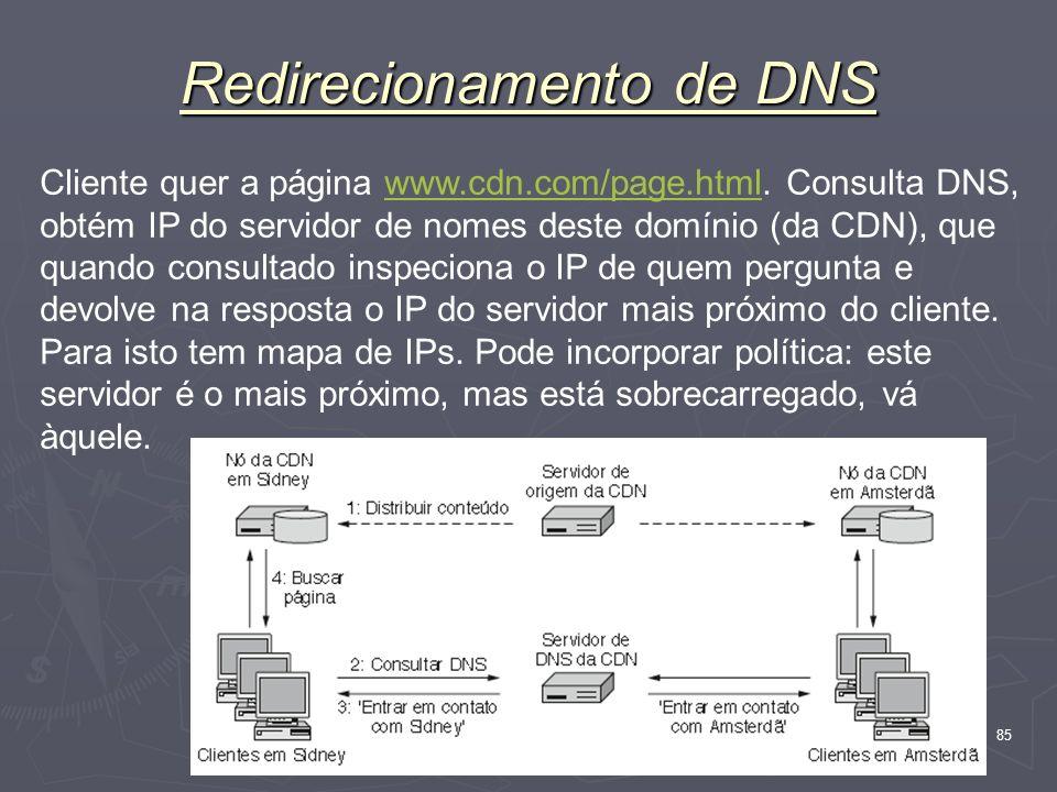 Nível Aplicação 85 Redirecionamento de DNS Cliente quer a página www.cdn.com/page.html. Consulta DNS, obtém IP do servidor de nomes deste domínio (da