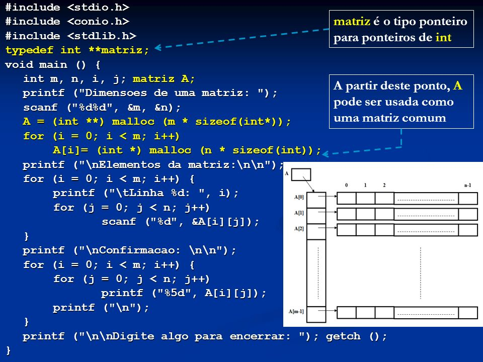 #include #include typedef int **matriz; void main () { int m, n, i, j; matriz A; printf (